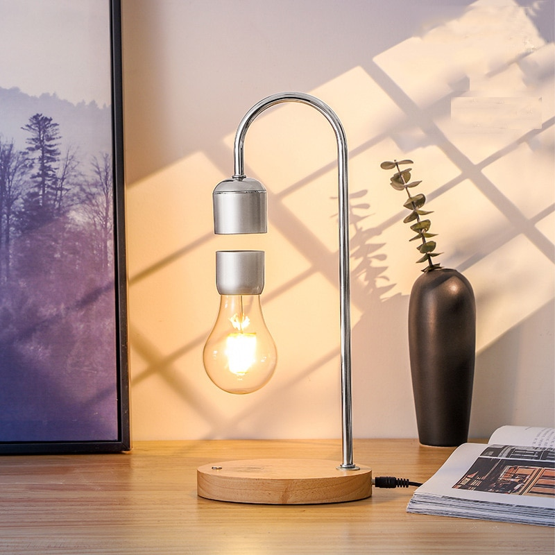 Creativity Magnetic Levitation Table Lamp LED Wireless Mobile Phone Charging Desktop Decorate Night Light for Home Floating Bulb enlarge