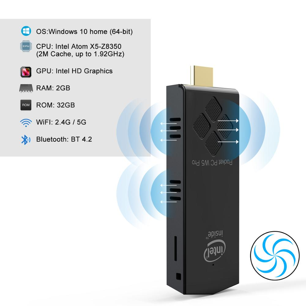W5 pro fanless Windows10 Mini pc stick Intel Atom x5-Z8350  RAM 2GB EMMC 32GB 1000M lan office compu