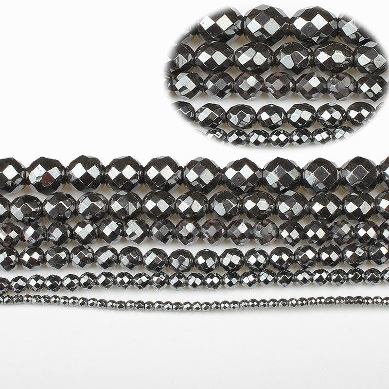 Cuentas sueltas de Terahertz facetadas de hematita negra con piedra Natural de 2 a 10mm, fabricación de joyas para mujer, accesorios para pulsera de collar DIY de 15