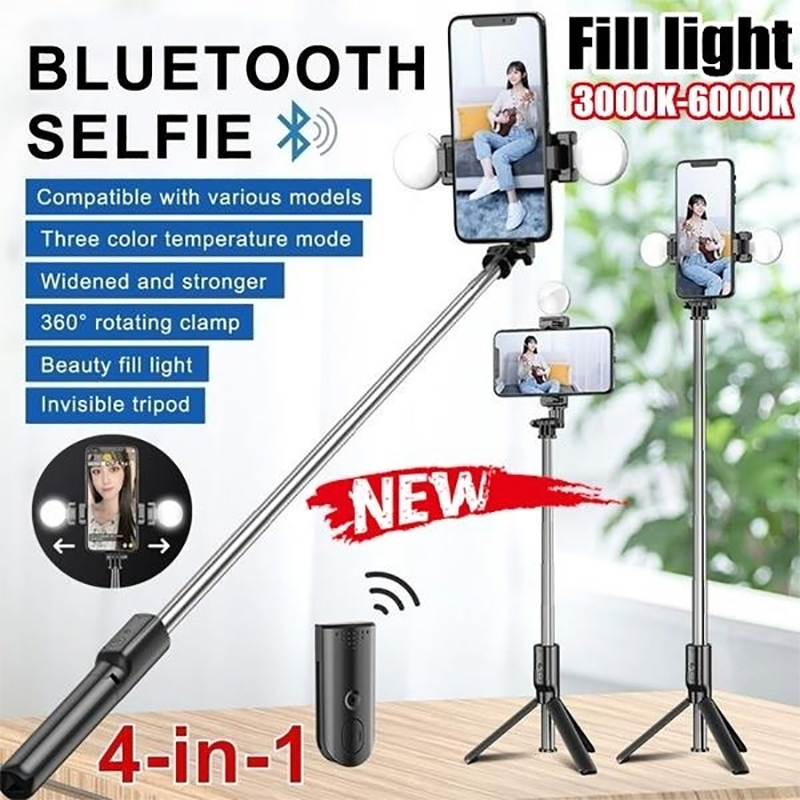 4In1 Wireless Bluetooth Selfie Stick Remote Control Handheld Extendable LED Fill Light Live Tripod For IPhone Android Smartphone