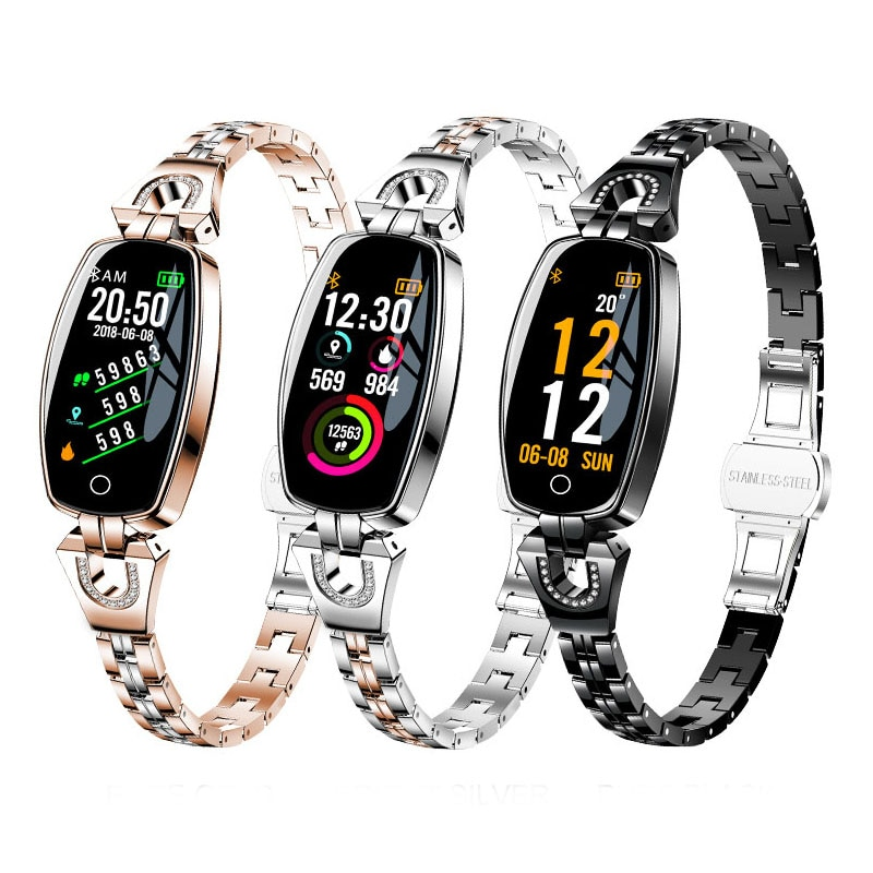 Reloj inteligente H8 para mujer, Ip67, a prueba de agua, monitor de ritmo cardíaco, Bluetooth para Android IOS, pulsera de Fitness, reloj inteligente