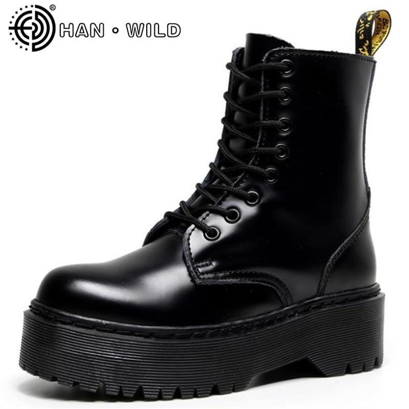 منصة عالية رجالي حذاء من الجلد 100% جلد طبيعي مكتنزة مارتينز أحذية للرجل والمرأة فاسق دراجة نارية أحذية أحذية الأزواج