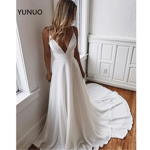 YUNUO Simple A-Line Chiffon Wedding Dresses Spaghetti Straps Wedding Bridal Gowns Custom Made Vestido de Novia Long Train