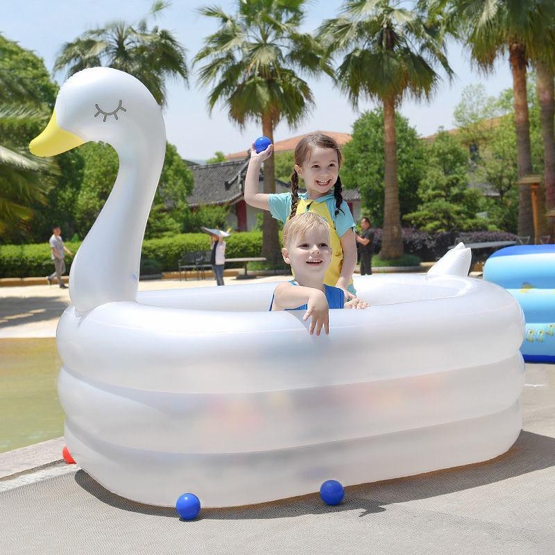 سوان حمام سباحة قابل للنفخ كبير الكبار الأطفال سميكة حمامات المنزلية الأبيض لطيف الطفل في الهواء الطلق بركة