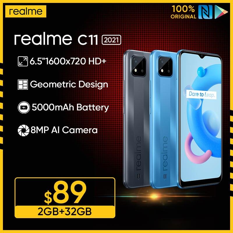 Перейти на Алиэкспресс и купить Русская версия realme C11 2021 2 Гб Оперативная память 32GB Встроенная память 6,5 дюймHD + большой Дисплей 5000 мАч долгоиграющий Батарея Поддержка NFC сети