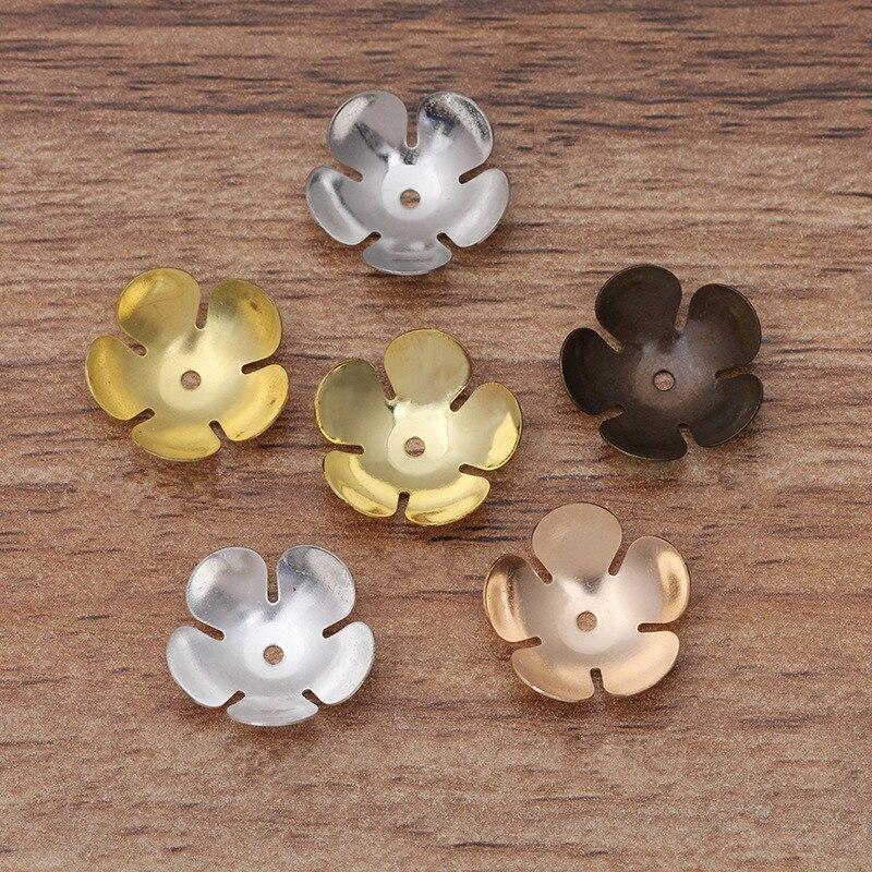100 Uds 16mm Metal latón flores de filigrana cuentas encantos de tapas Base ajustes DIY joyería hecha a mano hallazgos