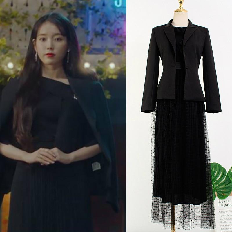 Kpop IU Lee Ji Eun-جاكيت بأكمام طويلة ، زي كوري جديد ، معطف أسود مثير من الدانتيل ، خصر عالي ، متوسط الطول ، مجموعة الخريف