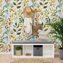 Papier peint aquarelle abstrait de printemps boho dessiné à la main avec des empreintes dherbes, pour la chambre de salon PW389705560