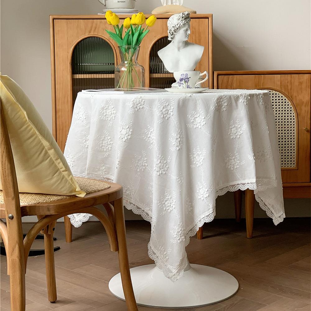 Dunxديكو خمر القطن مفرش المائدة الأبيض غطاء الطاولة النسيج الكلاسيكية حديقة البلد نمط فلورا المطرزة مخزن حفلة ميسا