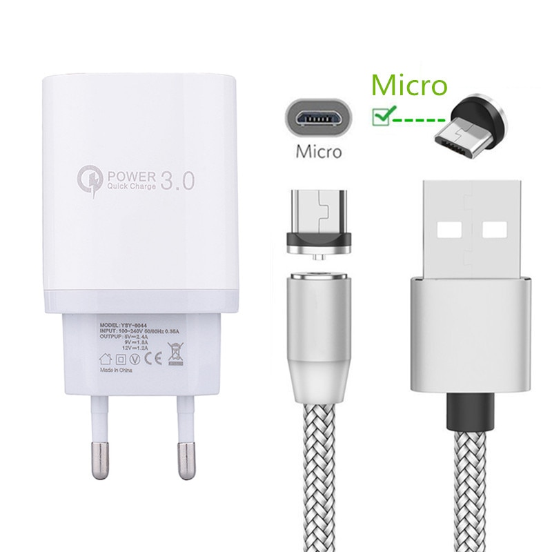 Para samsung huawei honor 8a xiaomi redmi 7 6 oppo p inteligente 2019 telefone móvel qc 3.0 carregador de carga rápida magnético micro cabo usb