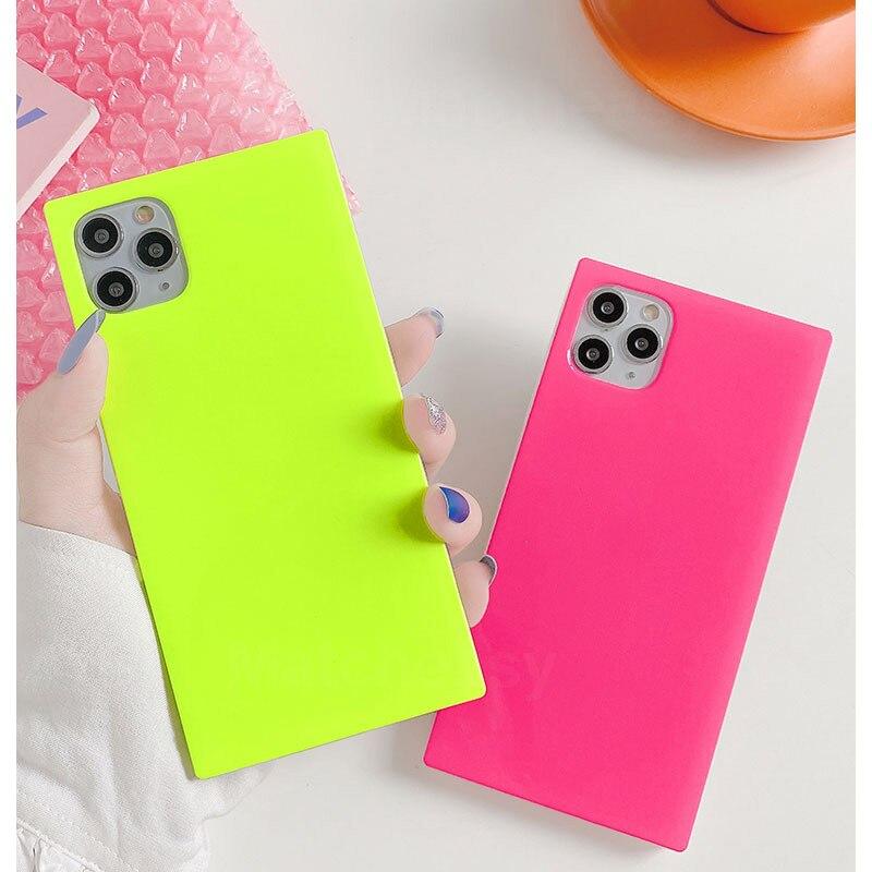 Cor fluorescente quadrada à prova de choque caso do telefone para o iphone 11 pro max xr x xs max 7 8 plus se 2020 neon caso tpu imd telefone capa