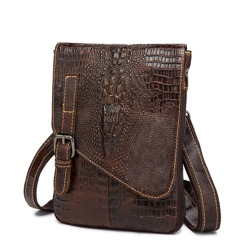 Alligator Genuine Cow Leather Messenger Bags Flap Casual Men Handbags Famous Brand Small Male Shoulder Crossbody Bags Crocodile