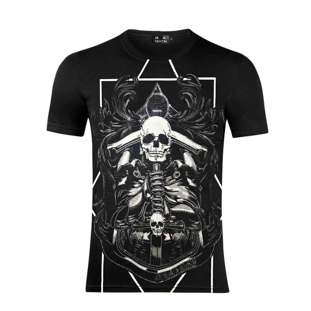 DUYOU Männer T-shirt Männer Komfortable 100% baumwolle Stoff Sommer Männer Kleidung Schädel Gedruckt rundhals Mode Camiseta fzw8662