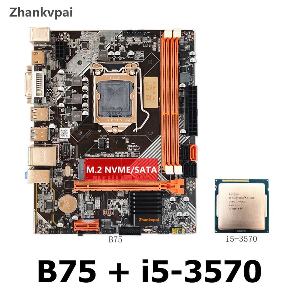 Nueva placa base B75 LGA1155 DDR3 + intel core quad core i5-3570CPU Pantalla de núcleo integrado frecuencia principal 3,4 GHZ kit de placa base