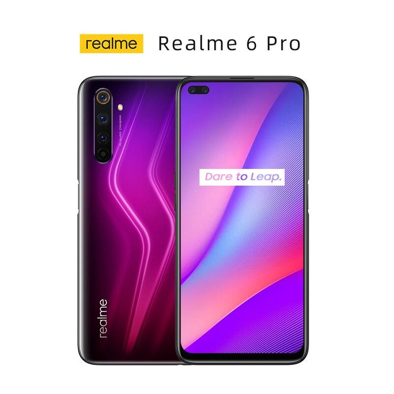 Новый оригинальный Realme 6 Pro мобильных телефонов 8 Гб Оперативная память 128 Гб Встроенная память 6,6 дюймов Snapdragon 720 г 30 Вт Быстрая зарядка 64MP Кам...