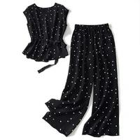 matching suit polka dot chiffon trousers two piece large size 2021 summer korean fashion retro casual top wide leg pants suit