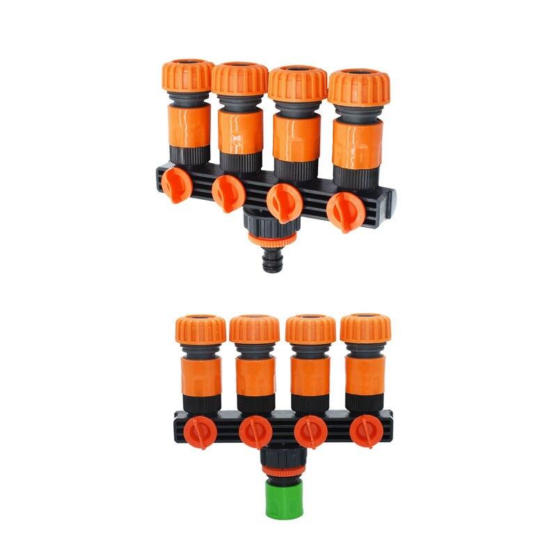 Manguera de jardín de 4 vías grifo de jardín separador de agua de jardín para 1/2 3/4 conector de manguera 16mm 20mm 1 Uds