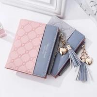 square women pink wallets card holder patchwork wallet lady female money bag fashion short cute coin purse pocket purse