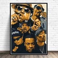 Peinture sur toile de rappeur de Hip Hop avec etoile  affiches et imprimes dart de mode  Art mural moderne pour decoration de salon et de maison  sans cadre