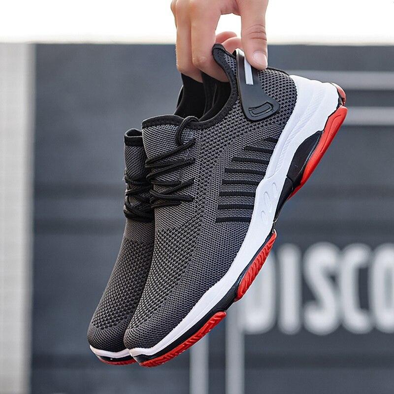 Litthing men vulcanize sapatos tênis desgastar-oposição não-deslizamento masculino malha tenis masculino leve tênis