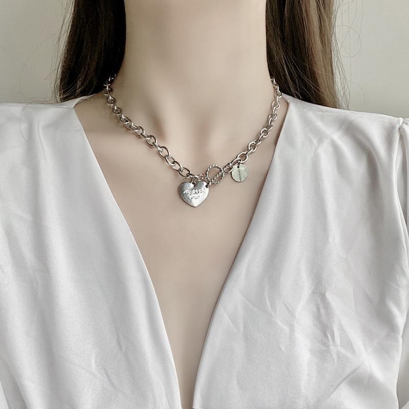 Moda corazón delicado collar de placa de identificación declaración inicial cadena de...