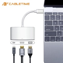 CABLETIME USB C 허브-HDMI VGA 4K Type C-HDMI USB 3.0 어댑터 화웨이 메이트 북 X 13 용 USB C 컨버터 Macbook pro air C207