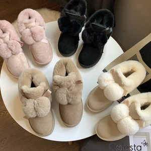 Celesta Boots for Women 2021 Fashion Fuzzy Ball Solid Color All-match Snow Boots Thicken Plush Warm Soft Winter Shoes for Women