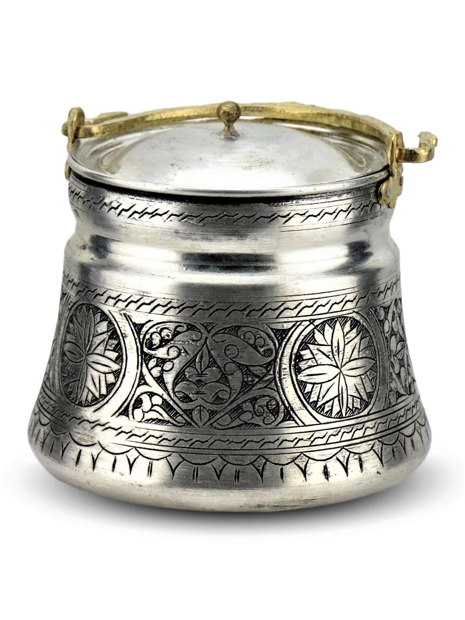 Cubo de cobre hecho a mano con tapa 1 lt Cubo de cocina resistente al calor bordado tradicional turco Anatolian otomana regalo de Estambul