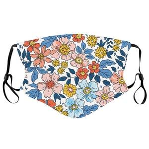 Flower  Scarfs Pattern Washable Reusable Cloth Cotton Inside Mondmasker Mascara Facial Scarf mascherine Halloween Cosplay Mask
