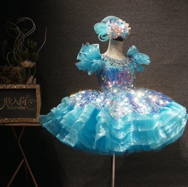 Light Blue Crystal Beading Girls Festival Party Dress Infant Girls Puffy Tutu Dresses Gowns Crystal Beading Girls Birthday Dress