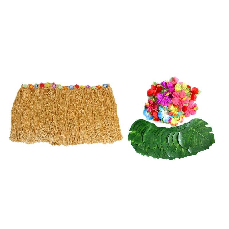 Table Skirt Hawaiian Luau Flower Grass Garden Wedding Party Beach Decor Khaki with 60 Pcs Tropical Party Decoration Tropical Pal