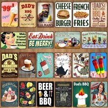Plaque décorative en métal fromage Burger   Étiquette murale en étain, Pub cuisine Restaurant BBQ Shop, décor artistique pour la maison, Vintage mur,