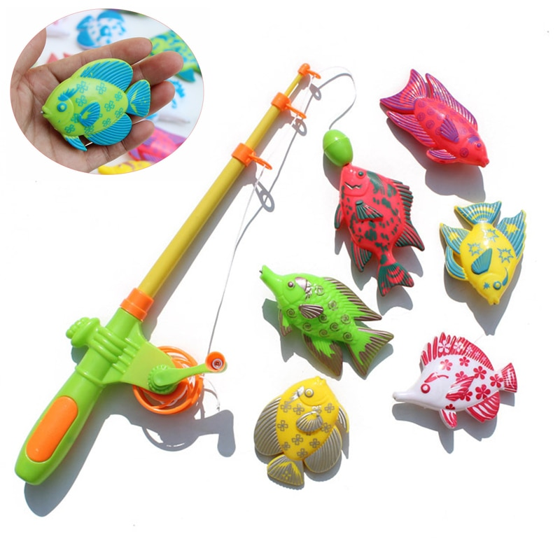 Children's 7pcs/Set Magnetic Fishing Parent-child interactive Toys Game Kids 1 Rod 6 3D Fish Baby Ba