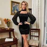 modern black halter neck bodycon dress elegant jacquard fabric ladies frocks for women casual empire mesh long sleeve mini dress