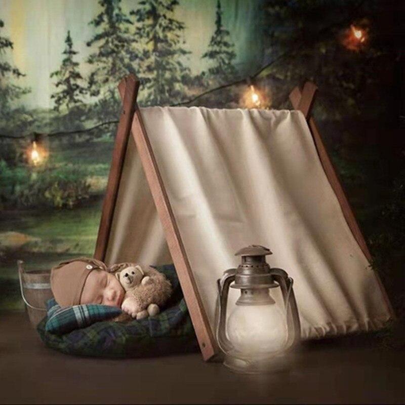 Newborn Photography Props Boy Adjustable Retro Wooden Cotton Tent Baby Photo Accessories Studio Bebes Accesorios Recien Nacido