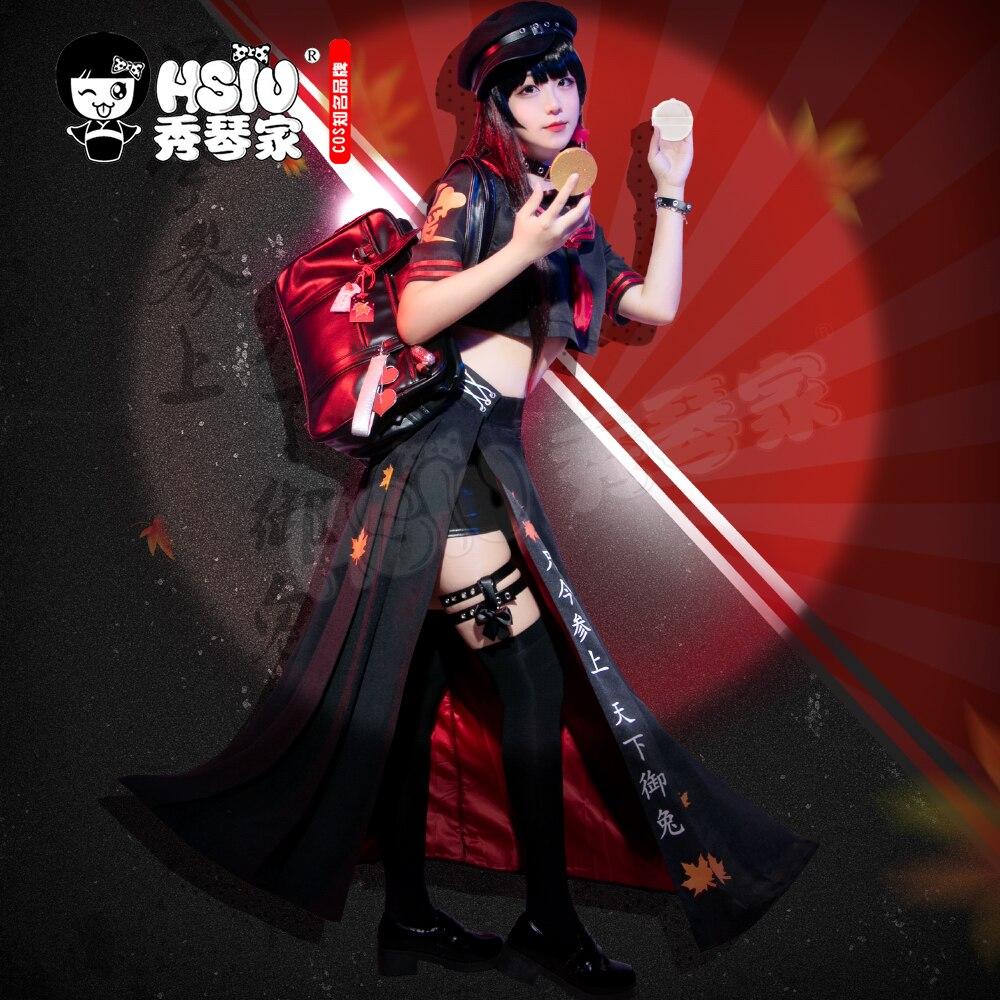 HSIU Game Onmyoji تأثيري شبح فتاة موميجي زي طالب ياباني زي موحد أسود مطوي تنورة مجموعة كاملة أنثى لعب الأدوار