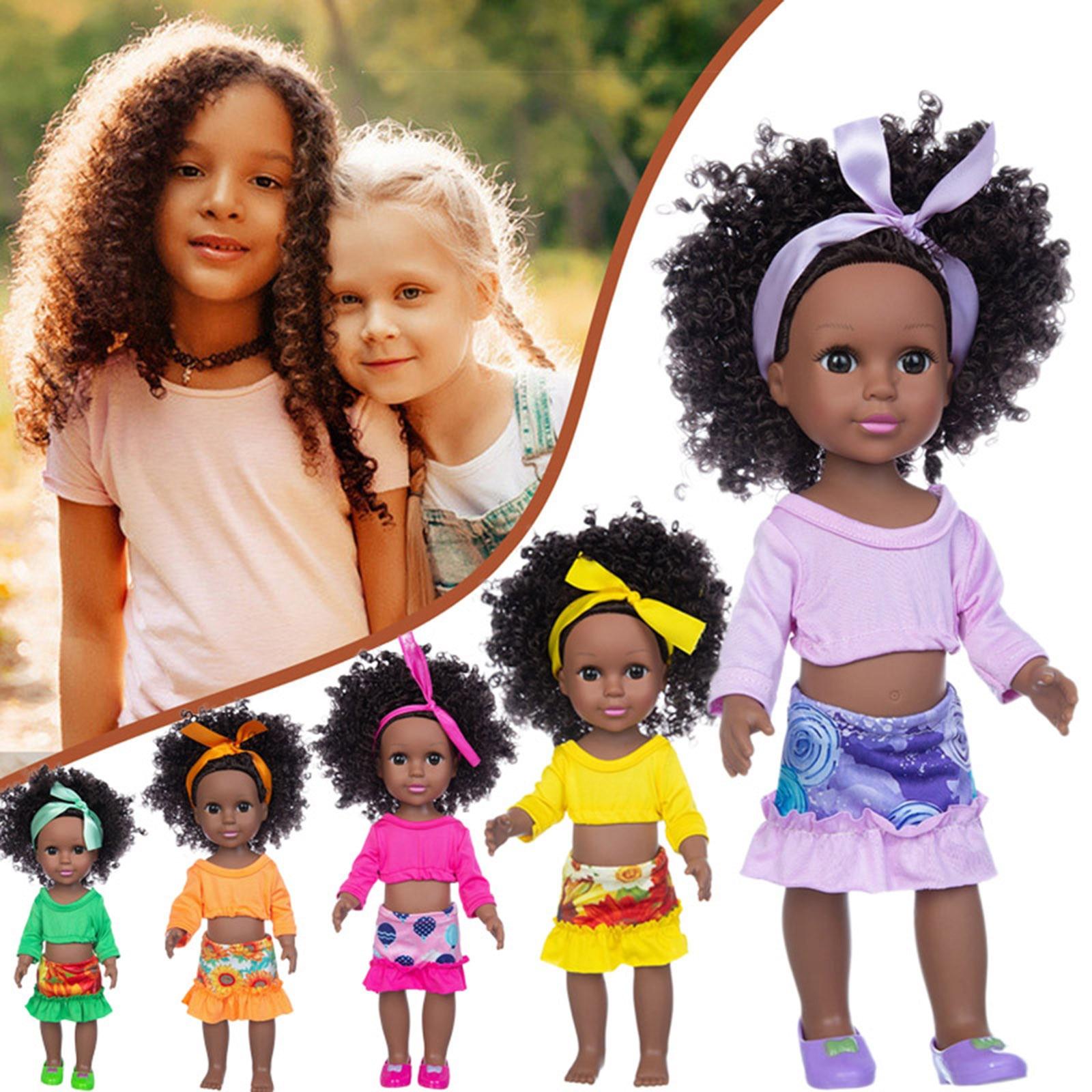 Africano boneca de brinquedo do bebê boneca preta melhor presente móvel conjunta preto africano bebê bonito encaracolado cabelo vinil boneca recém-nascido brinquedo da boneca do bebê
