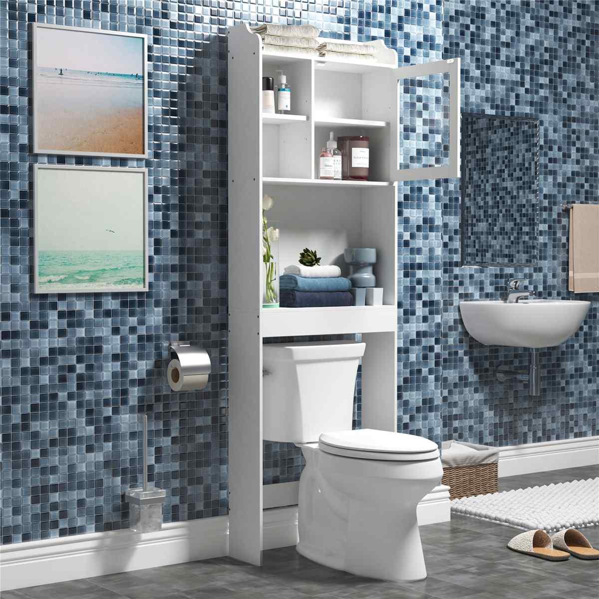 خزانة تخزين أثاث الحمام الحديثة ، أثاث الحمام الموفر للمساحة ، رف المرحاض الخشبي ، مستحضرات التجميل/العناصر المتنوعة/حامل المناشف