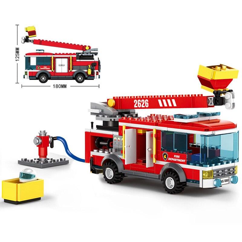 275pcs City Fire Ladder Truck Model Building Blocks Compatible Fireman Figures Bricks DIY Construction Toys for Children