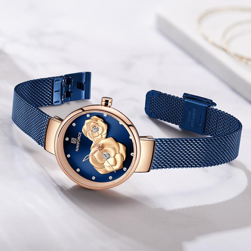 NAVIFORCE Women's Wristwatches Luxury Crystal Stylish Double Flower Dial Ladies Bracelet Quartz Clock Fashion Wrist Watch 2019 enlarge