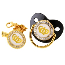 6 Color Gold Crown Bling Baby Pacifier And Chain Clip BPA Free Silicone Infant Rhinestone Nipple Soother 0-18 Months Shower Gift