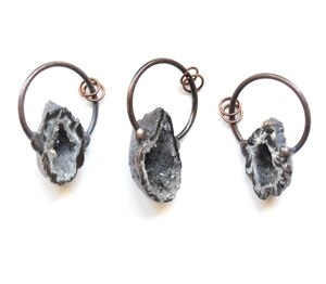 Nature druzy Geode quartz pendants with antique Electroplated Big loop ,black/ brown agates jewelry making