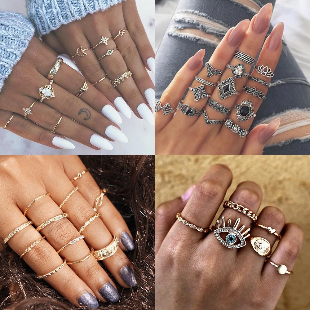 Золотой комплект панк-колец, готические женские кольца, Винтажное кольцо на День святого Валентина, корона, кольцо для глаз, подарки для жен...