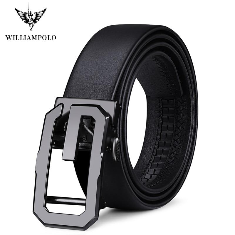 ويلياampolo ماركة جلد طبيعي حزام الرجال أعلى جودة حقيقية أحزمة جلدية فاخرة للرجال حزام الذكور المعادن التلقائي مشبك