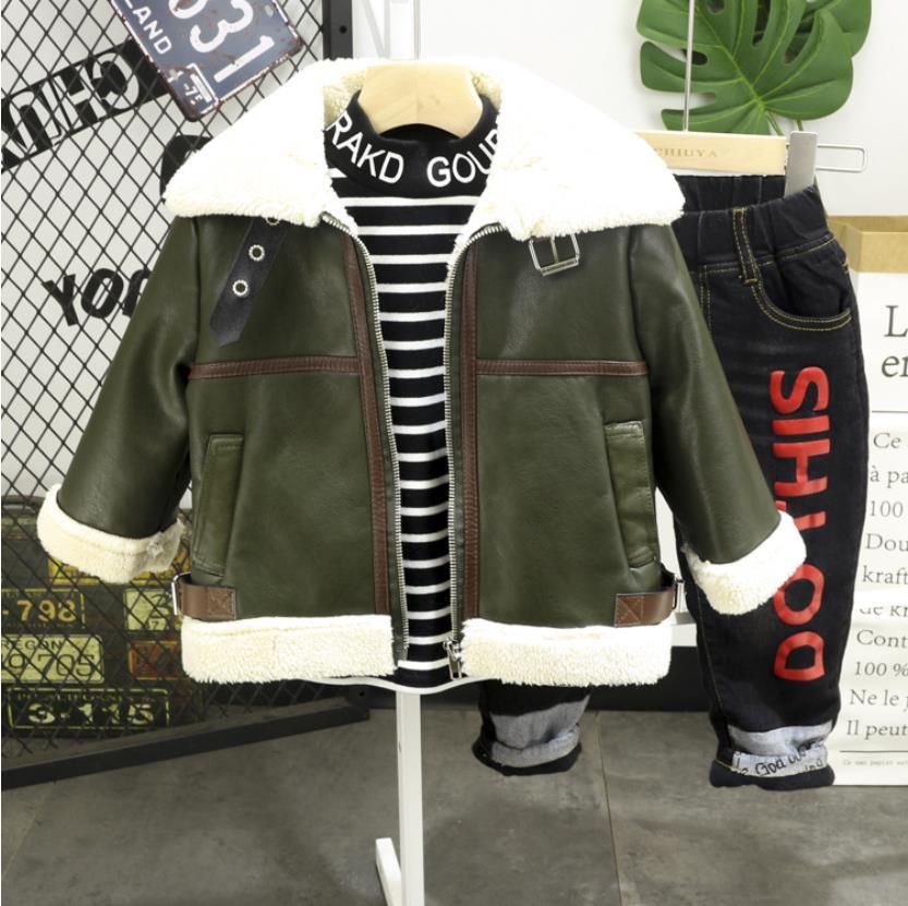 Повседневные спортивные комплекты одежды для малышей Одежда для мальчиков 3 предмета, куртка из искусственной кожи Плюшевые футболки джинс...