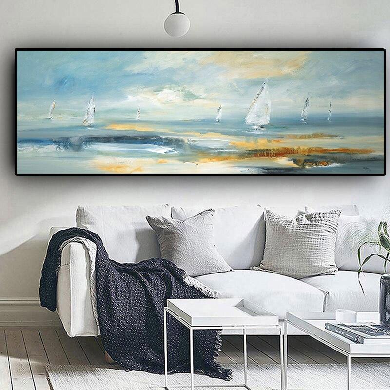 Pintura al óleo de paisaje Natural abstracta en botes, Cuadros de lienzo, carteles e impresiones, arte de pared escandinavo, imagen para sala de estar