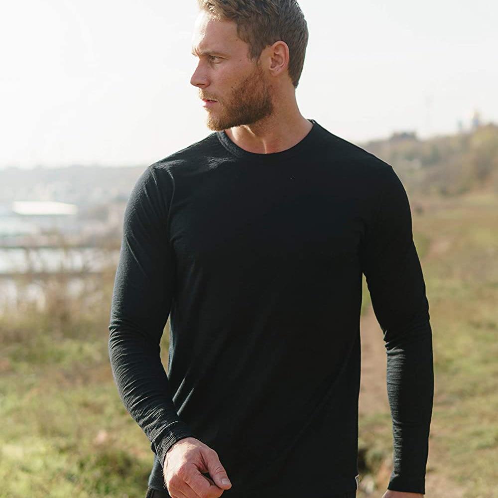 2020 Men's 100% Merino Wool Thermal long sleeve T Shirt Base Laye Merino Wool Shirt 240g Wicking Breathable Anti-Odor Size S-XXL