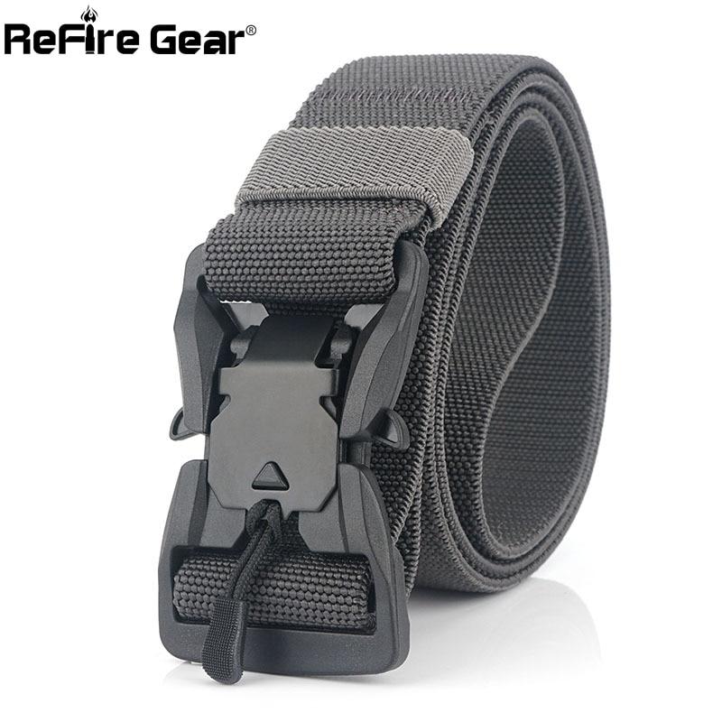 ReFire Gear Magnetic Head Tactical Belt Men Multicam Nylon Heavy Duty Strap Security Canvas Belt Army Airsoft Quick Release Gear