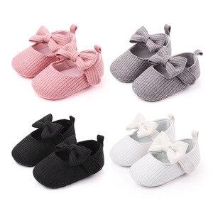 Детская обувь Горячая Распродажа, новинка 2020, детская кроватка, однотонная Милая обувь с бантом, Нескользящие наклейки, обувь для первых шагов #37