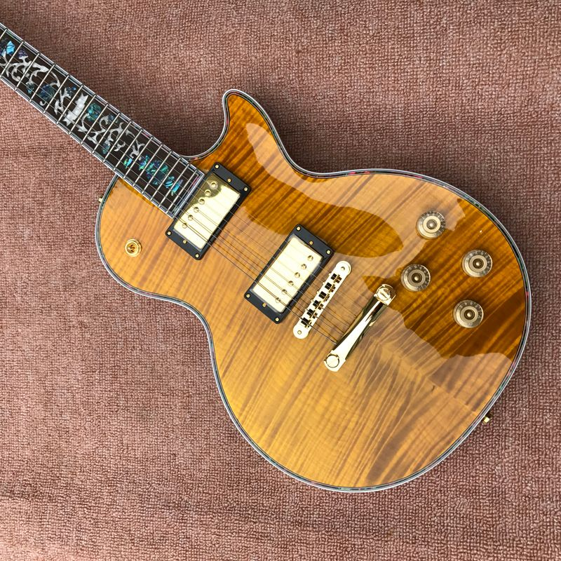 Guitar  Exclusive Quality, Tiger Flame Maple Top, Abalone Inlaid Fingerboard, Free Delivery